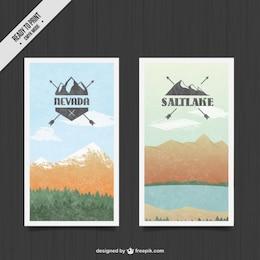 Banners de paisaje de montañas