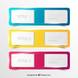 Banners origami de colores