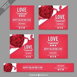 Banners románticos de San Valentín