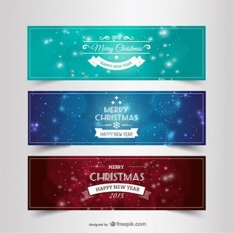 Banners vintage de Navidad y año nuevo