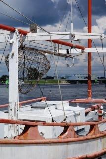 barco de pesca, blanco