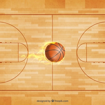 Vector pelota y cancha de baloncesto
