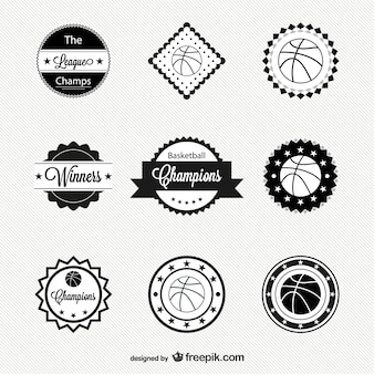 Pack de insignias retro de baloncesto
