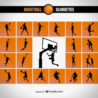 Conjunto de siluetas de baloncesto