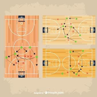 Pack de vectores de estrategia de juego en baloncesto