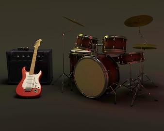 Baterías y guitarra