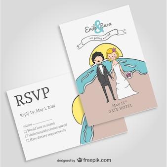 Plantilla invitación de boda en la playa