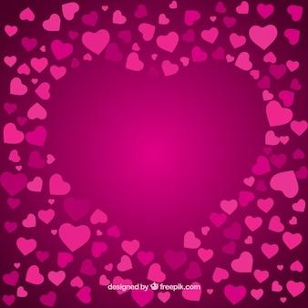 Tarjeta hermosa de corazones de color rosa