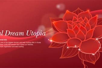 Hermosa flor de loto de color rojo de fondo abstracto
