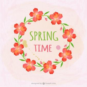Marco primaveral bonito con flores