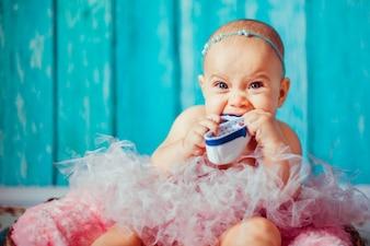 Bebé retrato de pared de niño de fondo