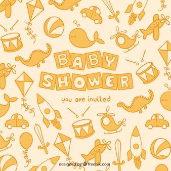 Bebé tarjeta linda de la ducha con los juguetes