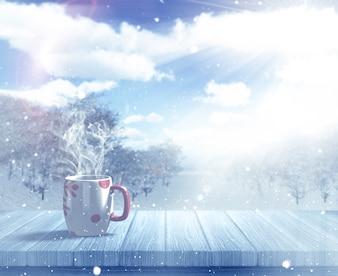 Bebida caliente en la nieve