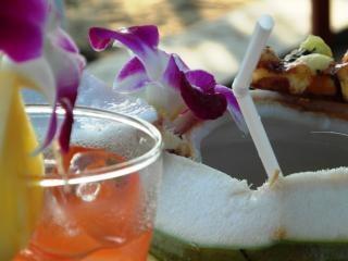 bebida fresca de coco en la playa del mar
