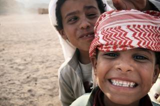 Beduino niños en Egipto