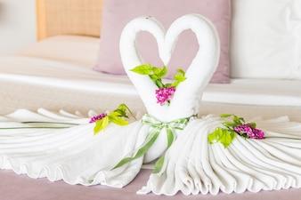 Bellos cisnes cama dormitorio cisne