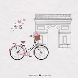 Bicicleta bonita sobre fondo de París