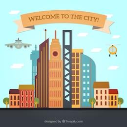 Bienvenido a la ciudad de fondo