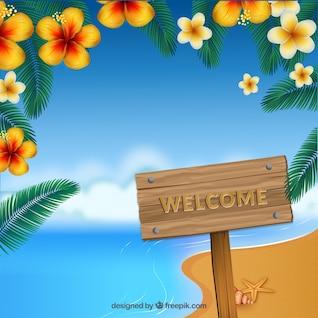 Bienvenido al paraíso en un panel publicitario de madera