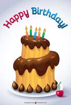 Tarjeta con tarta de cumpleaños