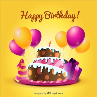 Tarjeta de cumpleaños con pastel y globos en estilo de dibujos animados