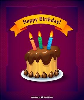 Tarjeta de cumpleaños con tarta de chocolate
