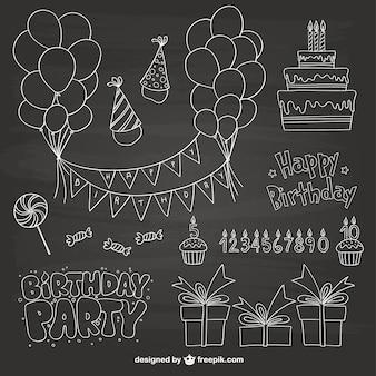 Garabatos de fiesta de cumpleaños