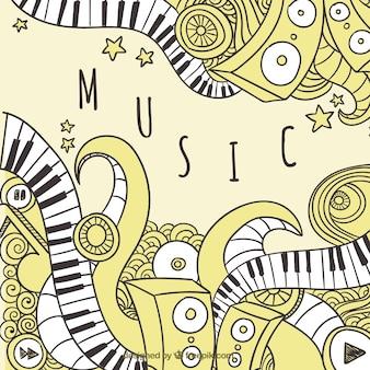 Fondo blanco y negro de la música