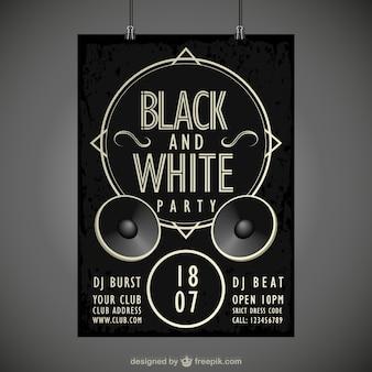 Cartel en blanco y negro de fiesta