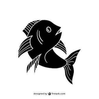 Silueta de pescado negro