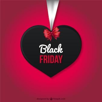 Etiqueta de Black Friday con forma de corazón