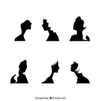 Siluetas de la cara de chicas en negro
