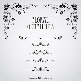 Ornamentos florales con rosas negras