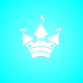 Blanco icono de la silueta del castillo simple en azul