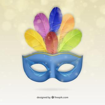 Máscara de carnaval azul con plumas de colores