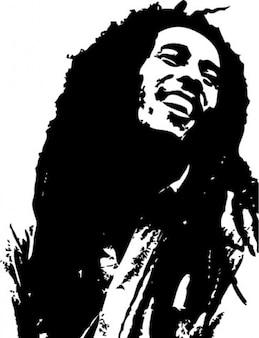 Bob marley retrato ilustración vectorial
