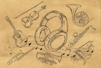 Boceto de auriculares Instrumentos de música en papel marrón