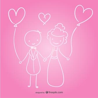 Boceto de recién casados
