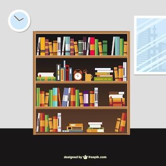 Libros en los estantes en estilo de dibujos animados