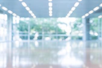 Borrosa resumen de antecedentes vista interior mirando hacia fuera a vacío vestíbulo de la oficina y las puertas de entrada y la pared de cortina de vidrio con marco