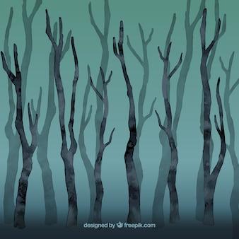 Bosque sin hojas Acuarela