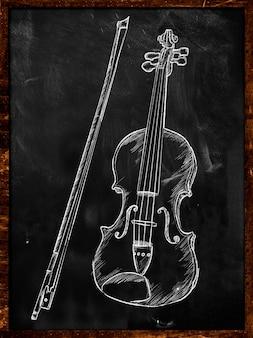 Bosquejo de dibujo de violín en la música pizarra