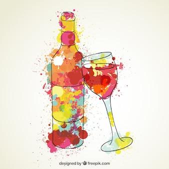Botella de vino y copa de vino de acuarela