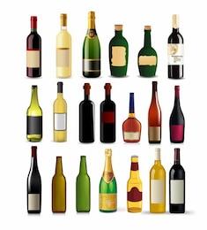 Botellas de colección - Conjunto de diferentes bebidas y botellas