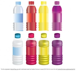 Botellas de colores burlan up vector