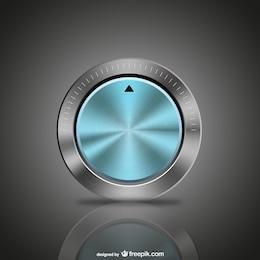 Botón azul de metal
