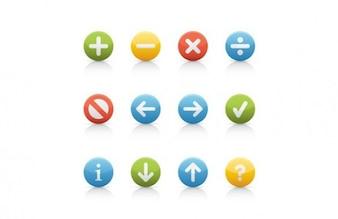 Botones de navegación de colores de forma redonda