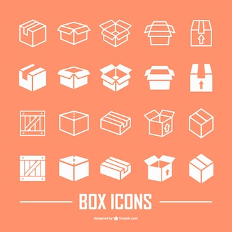 Colección de iconos planos de cajas