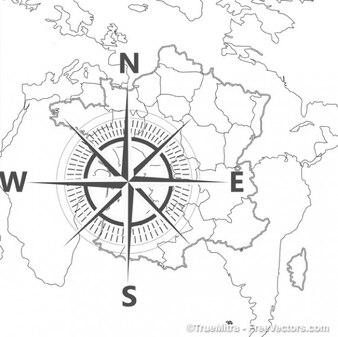 Brújula en el mapa del mundo