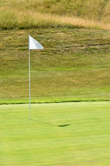 Buen campo de golf en un soleado día de verano. Agujero con una bandera. Popular deporte al aire libre.